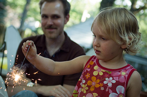 Lucy with Sparkler