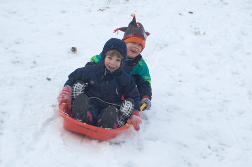 Ben and Andrew Henry on the Sled