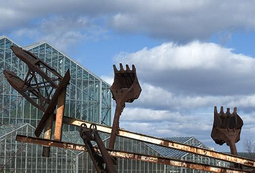 Rusted Steamshovel Sculpture